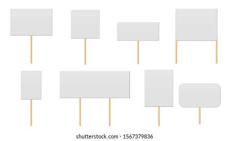 Banner mock up on wood stick collection. Protest placards, public transparency with wooden holders. Campaign boards with sticks.  Politic strike boards realistic vector holding public broadsheet