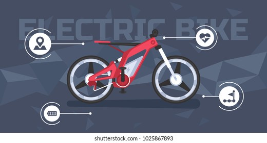 Banner with a modern electric bike infographics for shop or web page