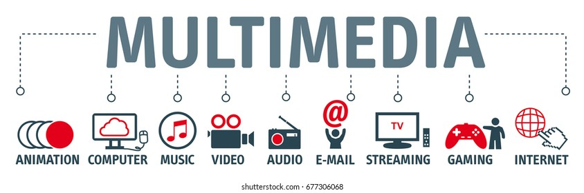 Banner multimedia concept. Vector icons and keywords