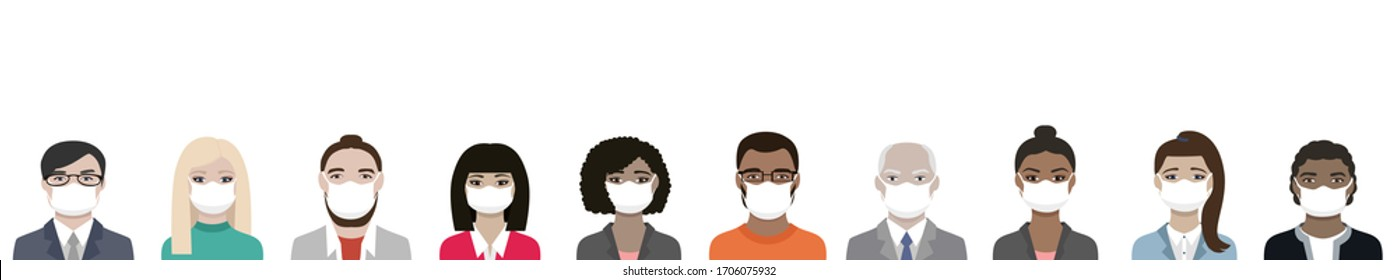 Banner of Multiracial people wearing ppe masks for coronavirus covid-19 protection a diversity team of men and women