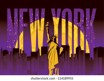 banner with of New York City, Statue of Liberty at night under the moon