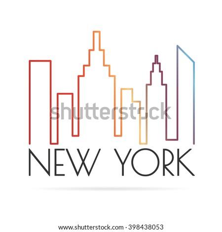 Banner New York City Vector Symbols Stock Vector Royalty Free
