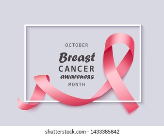 Banner for October breast cancer awareness month with realistic 3d wavy pink satin ribbon and white frame on gray background. Support and awareness with breast cancer, vector illustration.