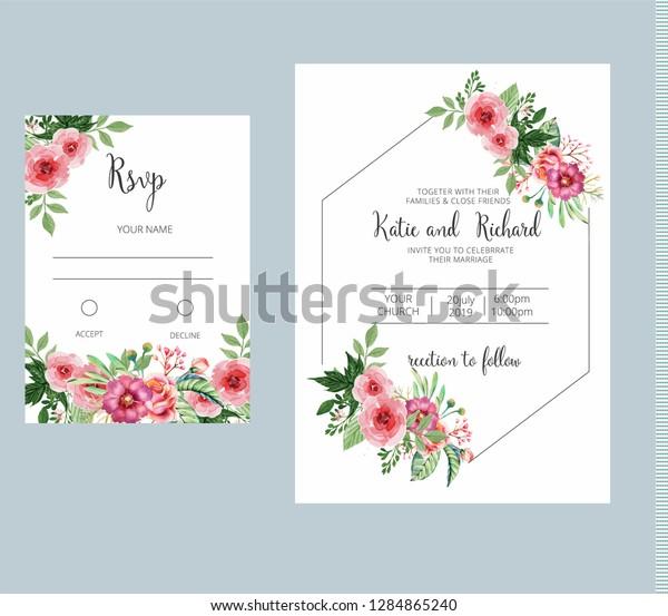 Banner On Flower Background Wedding Invitation Stock Vector