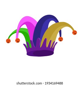 A banner on the theme of The Fools Day in April. A poster of Fools Day with a jesters hat. Vector eps illusrator.
