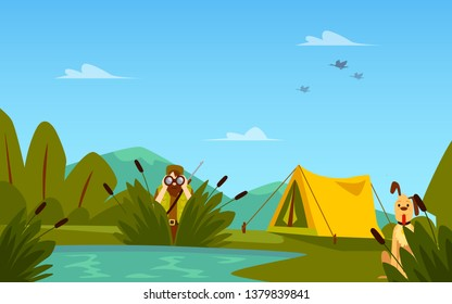 Banner on the theme of hunting with hunter characters and tent flat vector illustration. Forest landscape with lake or marshland and shooting men template.