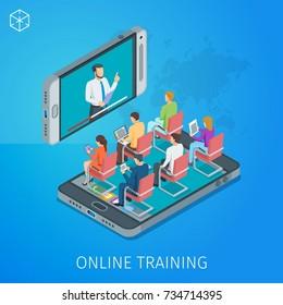 Banner auf Thema Online-Schulung. Online-Webinar. Die Leute hören dem Vortragenden zu. Isometrisches Konzept. Detaillierte Abbildung