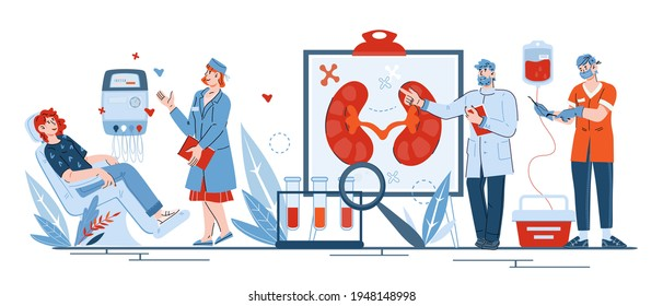Banner on topic of medical treatment of kidney diseases, cartoon vector illustration isolated on white background. Surgery, hemodialysis and ultrasound diagnosis. Doctors and patients characters.