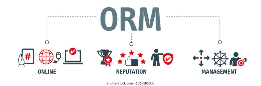 Banner Online Reputaion Management. ORM refers to the influencing and controlling of an individual's or group's reputation. Vector Illustration Concept