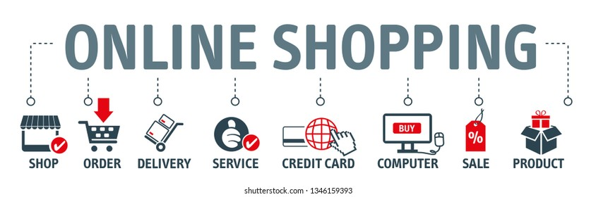 Banner online shopping vector illustration concept. Shop, order, delivery, service, credit card, computer, sale and product