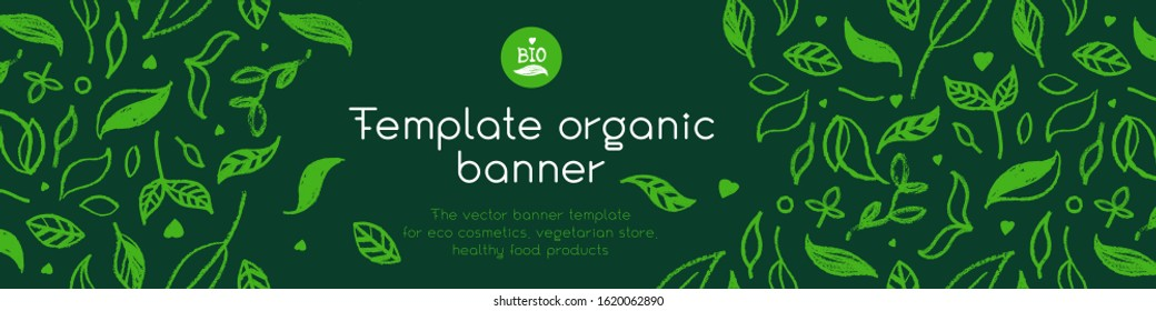 Banner organic ingredients, template design for healthy food concept, vegetarian food banner for eco store and market, eco-friendly background, green thinking concept, environmentally friendly banner.