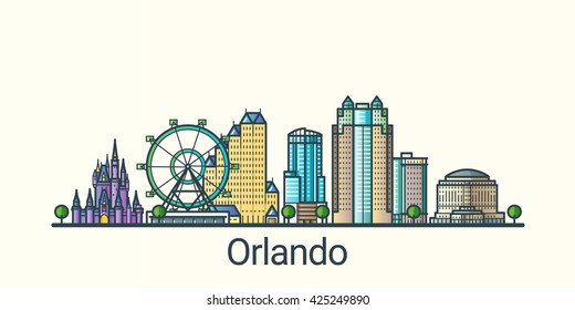 Banner of Orlando city in flat line trendy style. Orlando city line art. All buildings separated and customizable.