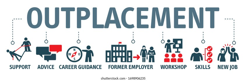 Banner outplacement vector illustration concept. advice, career guidance, training, ormer employee skills, workshop support and jew job icons