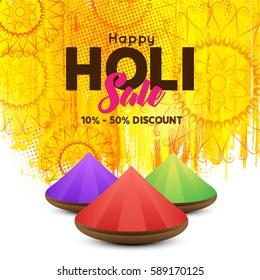 Banner or Pamphlet design,Creative Flyer, Web Banner, holi sale banner for Indian Festival of Colours, Happy Holi celebration.