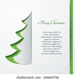 Banner with a paper Christmas tree. Design elements for holiday cards.Vector illustration.