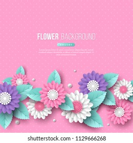 Banner with paper cut 3d flowers in pink, white and violet colors. Place for text, dotted pattern. Decorative elements for holiday design. Vector illustration.