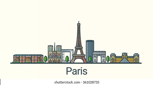 Banner of Paris city in flat line trendy style. All buildings separated and customizable. Line art.