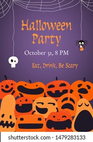 Banner, party invitation, background design with different funny pumpkins, jack o lanterns, spider webs, skull, text Halloween Party. Hand drawn vector illustration. Holiday decor concept. Flat style.