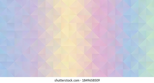 Banner with a pastel coloured rainbow low poly design