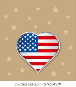 banner patriotic USA flag in heart and stars