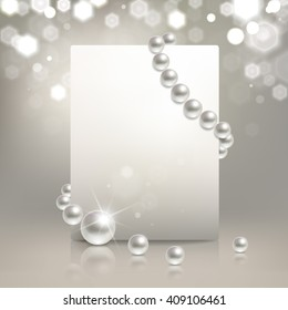 banner with pearls on a light background