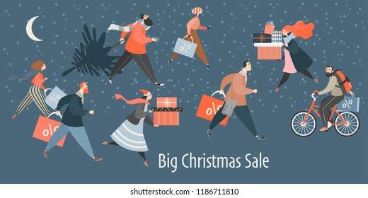 Banner with people hurrying for a great Christmas sale.  Men and women are buying gifts. Vector illustration in cartoon style