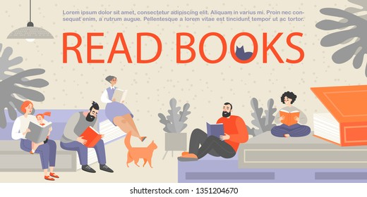 Banner with people sitting on huge books and reading. People of different ages are passionate about reading books. Mom reads a book to a child. Cartoon characters
