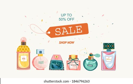 Banner for perfume stores and advertising. Bottles is under clipping mask, isolated on white background. For shop, market, advertising, store.