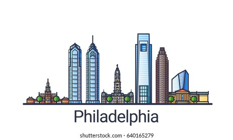 Banner of Philadelphia city in flat line trendy style. Philadelphia city line art. All buildings separated and customizable.