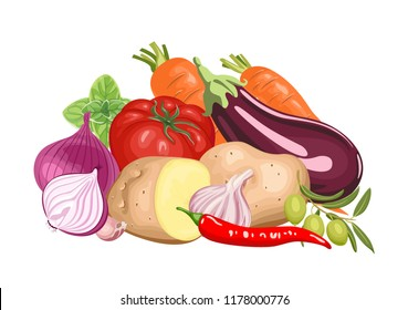 Banner with a pile of fresh vegetables. Vector vibrant color illustration of meal in a flat style.