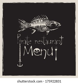 banner for pirate restaurant with a skeleton fish and anchor