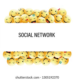 Banner with positive emoticons for social network. Flat design style.
