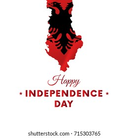 Banner or poster of Albania independence day celebration. Albania map. Waving flag. Vector illustration.