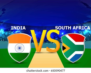 banner or poster for Cricket Championship with nice and creative design illustration. India vs. South Africa