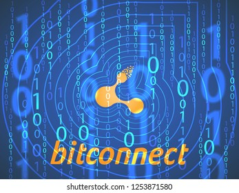 Banner, poster crypto currency symbol bitconnect on dark blue background. Stock illustration.