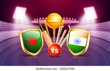 Banner or poster design, cricket tournament participants country Bangladesh vs India with illustration of cricket equipments on night stadium view background.