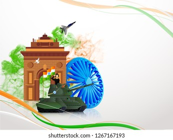Banner or poster design, saluting army officer on military tank in front of India gate with Ashok Wheel for Republic Day celebration.