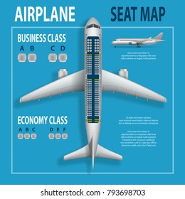 Banner, poster, flyer with airplane seats plan. Business and economy classes top view Aircraft information map. Realistic passenger aircraft indoor seating chart. Vector illustration.