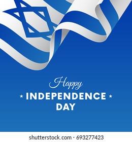 Banner or poster of Israel independence day celebration. Waving flag. Vector illustration.