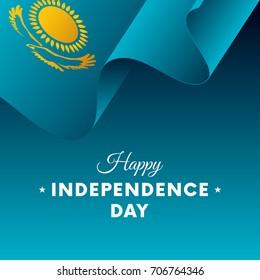 Banner or poster of Kazakhstan independence day celebration. Waving flag. Vector illustration.