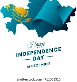 Banner or poster of Kazakhstan independence day celebration. Kazakhstan map. Waving flag. Vector illustration.