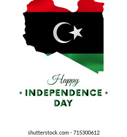 Banner or poster of Libya independence day celebration. Libya map. Waving flag. Vector illustration.