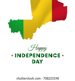 Banner or poster of Mali independence day celebration. Mali map. Waving flag. Vector illustration.