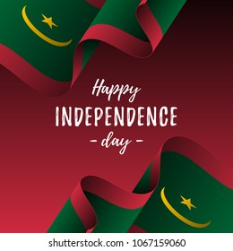 Banner or poster of Mauritania independence day celebration. Mauritania flag. Vector illustration.