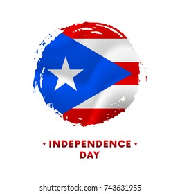 Banner or poster of Puerto Rico Independence Day celebration. Waving flag of Puerto Rico, brush stroke background. Vector illustration.