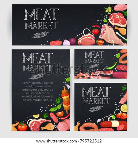 Banner Poster Template Gastronomic Meat Products Stock Vector