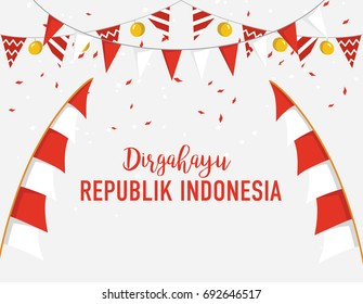 banner or poster template of Indonesian Independence day festival