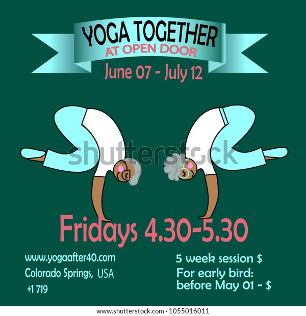 Banner Poster Training Together Seniors Yoga Stock Vector Royalty Free 1055016011