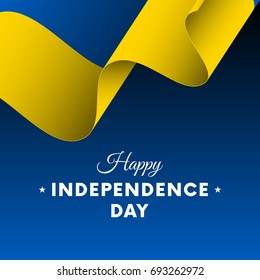 Banner or poster of Ukraine independence day celebration. Waving flag. Vector illustration.