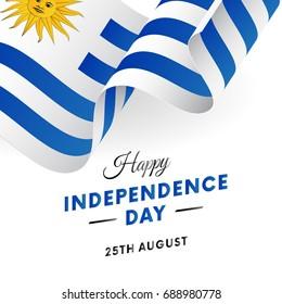 Banner or poster of Uruguay independence day celebration. Waving flag. Vector illustration.